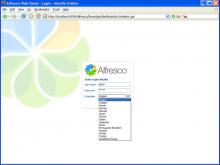Logging in to Alfresco (over ten languages supported)