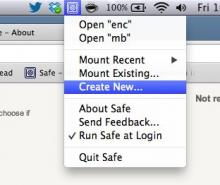 Menu bar menu, Mac OS X