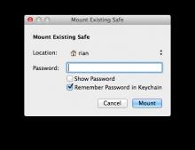Mount volume dialog, Mac OS X