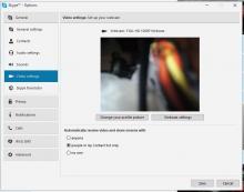 Video settings tab