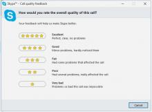 Call quality feedback form