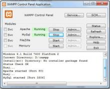 Xampp interface